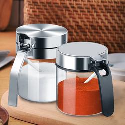 调料盒套装调料瓶调料罐子调味盒玻璃调味瓶家用厨房不锈钢盖大号