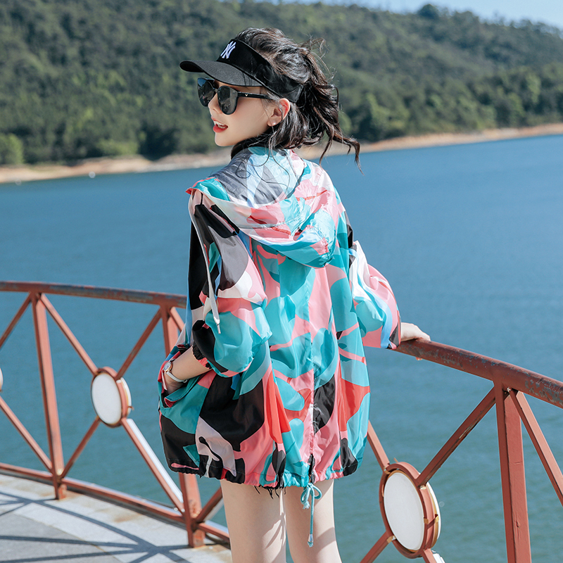 Camouflage sunscreen womens 2020 summer new mid long Decor sunscreen thin coat fashion leisure ventilation