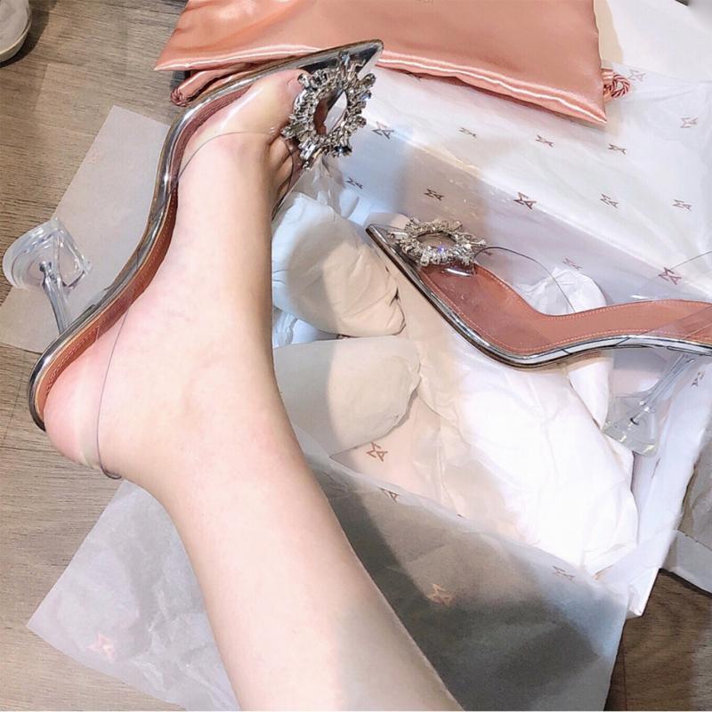 真皮凉鞋女2020夏季新款透明高跟鞋女细跟尖头鞋后空百搭仙女鞋