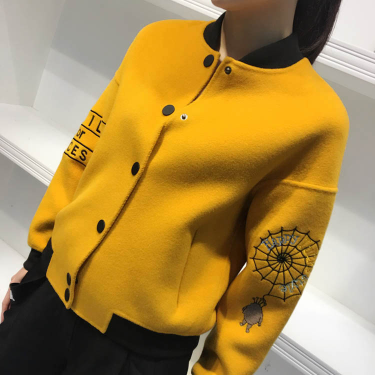 Korean double-sided Tweed Wool Coat womens short embroidered tweed coat thread baseball suit pilot jacket embroidery