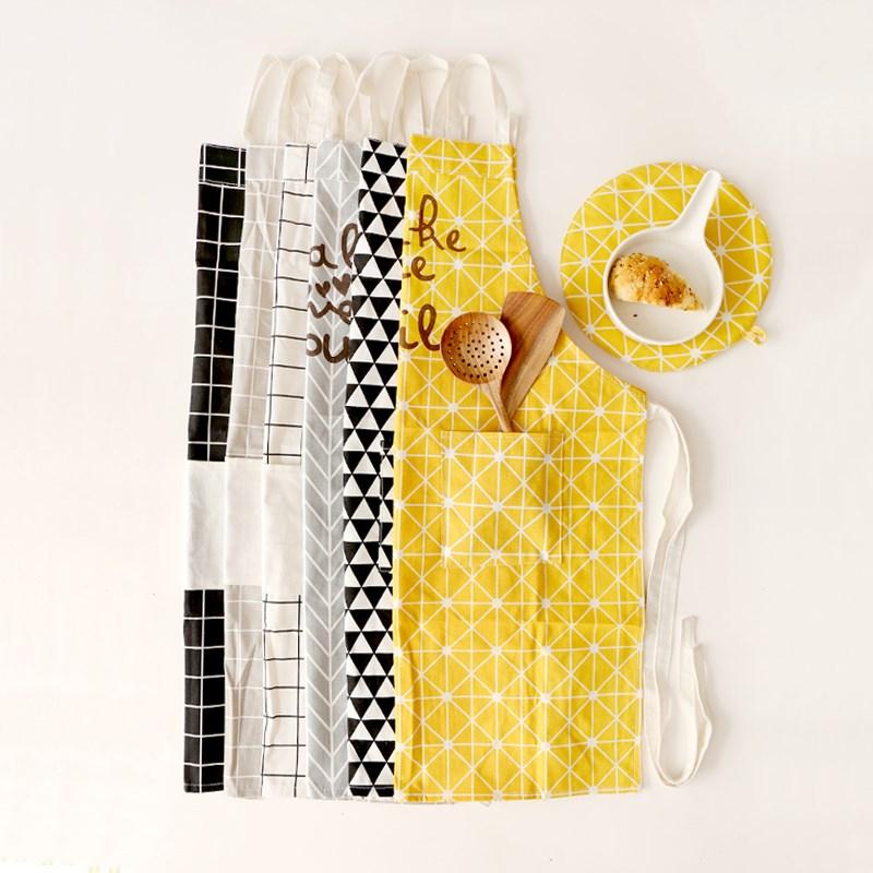 日式棉麻创意厨房围裙成人围裙 餐饮咖啡馆画室面包店工作服