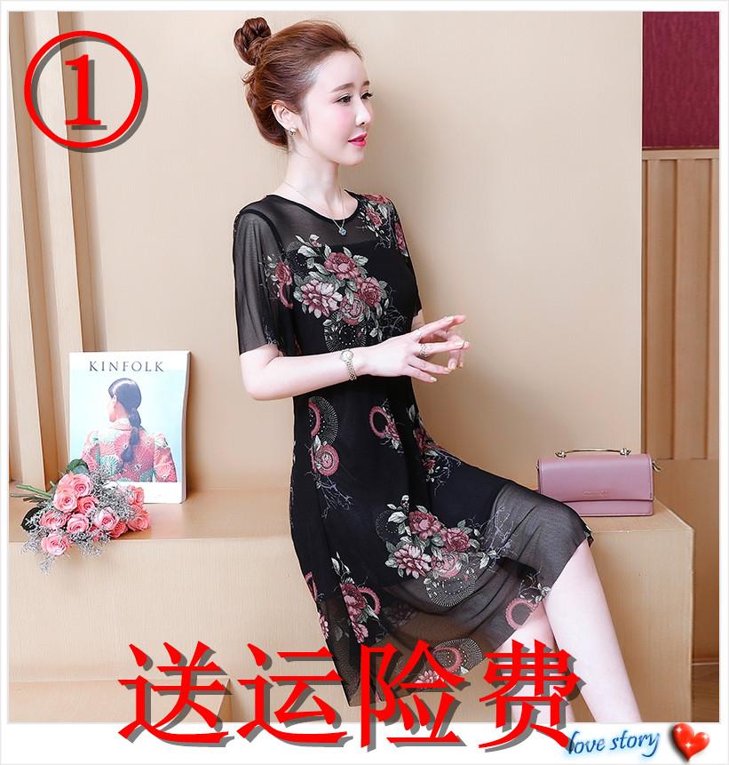 夏季连衣裙中老年妈妈夏天大码女装适合35至40-45-50到55多岁穿。