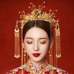 秀禾新娘古装头饰步摇流苏中式婚礼结婚大气秀禾服皇冠凤冠发饰女