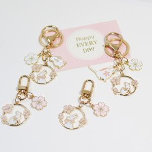 樱花兔子ins可爱粉色系金属钥匙扣情侣男女礼物挂件包包挂饰汽车