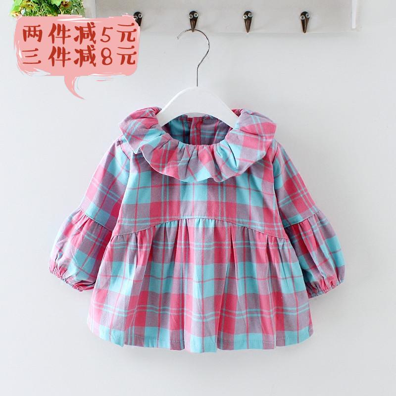 卡茜纯棉女宝宝防水罩衣格子反穿衣秋冬儿童画画衣长袖婴儿吃饭衣