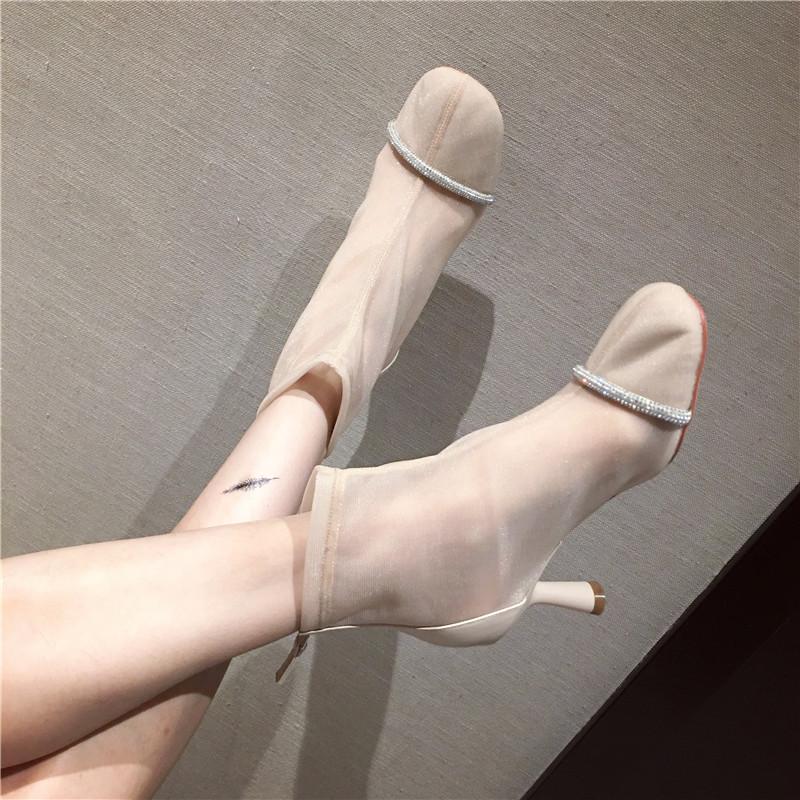2019夏秋新款chic欧美时尚气质OL高跟凉靴优雅水钻细跟网纱女靴子