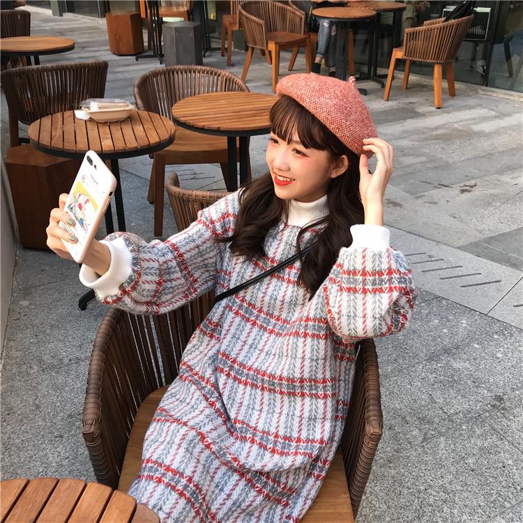 实拍实价 已检测 韩版宽松半高领长袖毛呢连衣裙