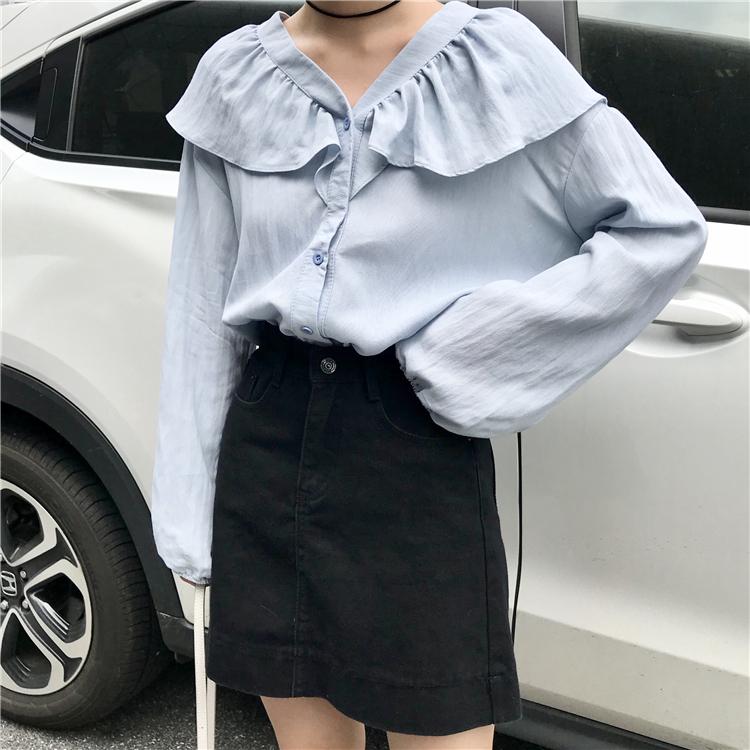 实拍实价 已检测 韩版简约气质少女荷叶边V领衬衫学生