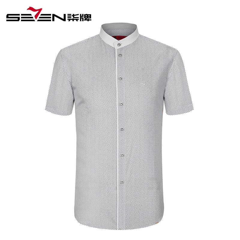 【商场同款】柒牌男装短袖衬衫男士立领衬衫夏季商务休闲衬衫男