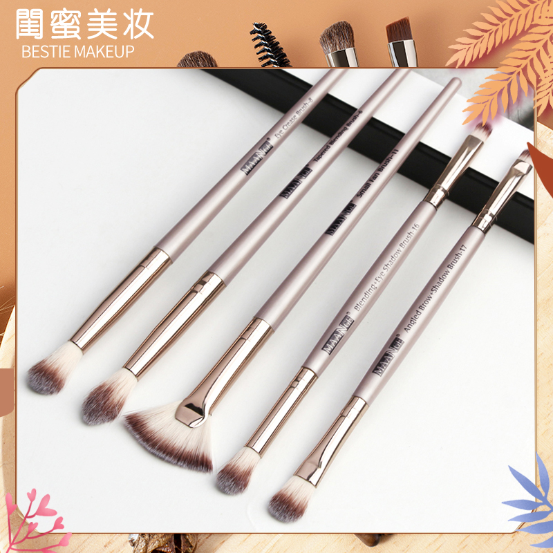 5 portable cosmetic brush sets, beginners full set of eye shadow brushes, makeup tools, red and painted eyes.