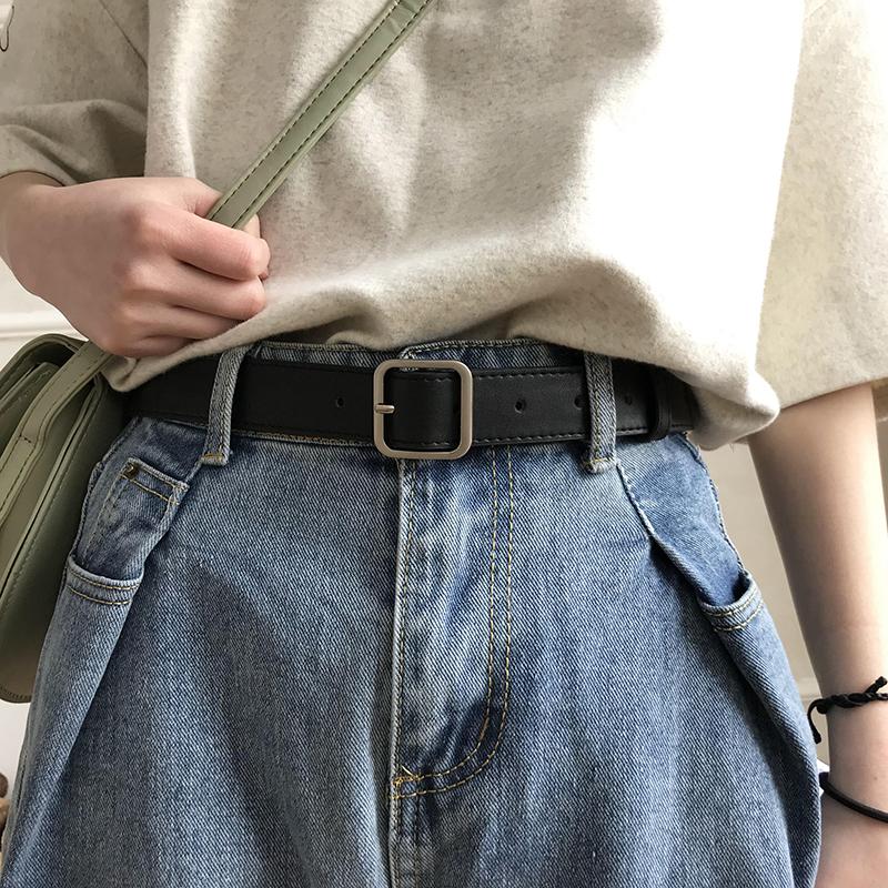凹造型pu方扣腰带男女通用宽皮带chic学生韩国时尚ins裤带百搭黑