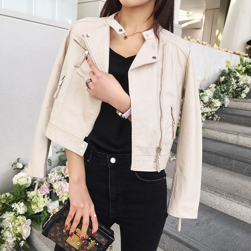 Short leather jacket womens jacket slim fit versatile sleeve zipper leather seam soft washed PU leather upper