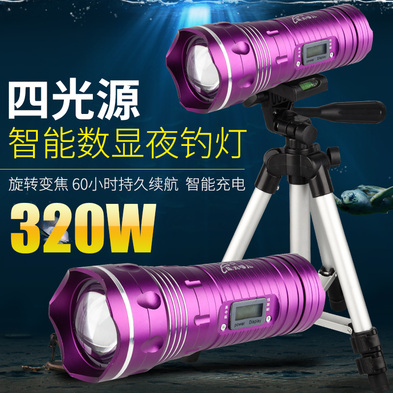 Промысел лампа ночь рыба свет ultrabright яркий свет фиолетовый рыбалка зарядка большой мощности фонарик стоять ксенон серебристые синий свет