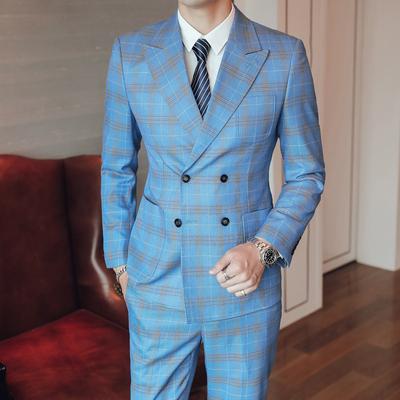 模特图-长期款S-5XL大码男士西服套装双排扣三件套6035P300