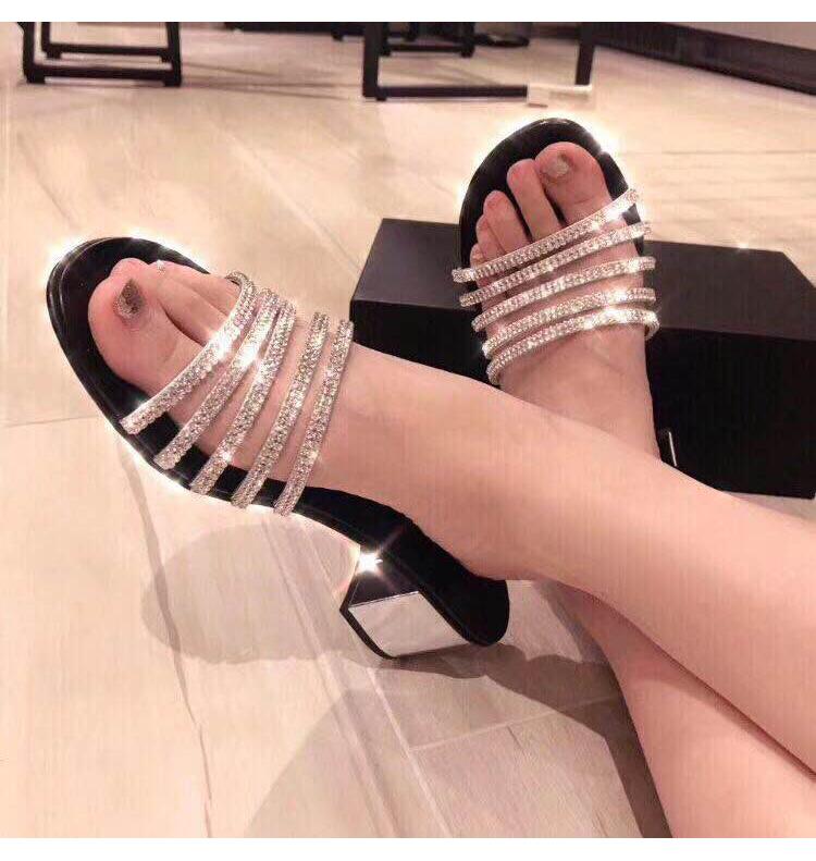 2020 new fashion sandals with diamond female thick heel silver diamond thick heel high heel versatile open toe sandals female