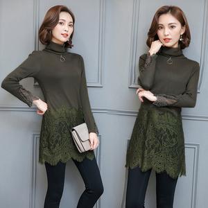 2017秋冬女装韩版大码长袖蕾丝衫中长款加绒加厚打底衫上衣连衣裙