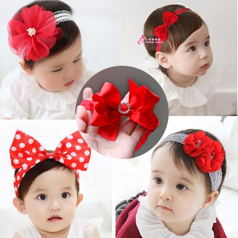 女宝宝头饰百天婴儿发带韩版红色蝴蝶结头花儿童生日发饰公主皇冠