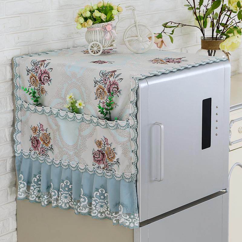 Холодильник обложка тканевая коврик двойная дверь для список открытых холодильник покрытия пылезащитный чехол пыленепроницаемый ткань стиральная машина полотенце кружево