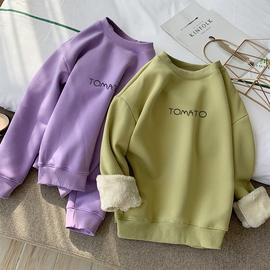 羊羔绒加厚保暖绒衫女韩版套头冬装新款宽松字母加绒卫衣女外套潮