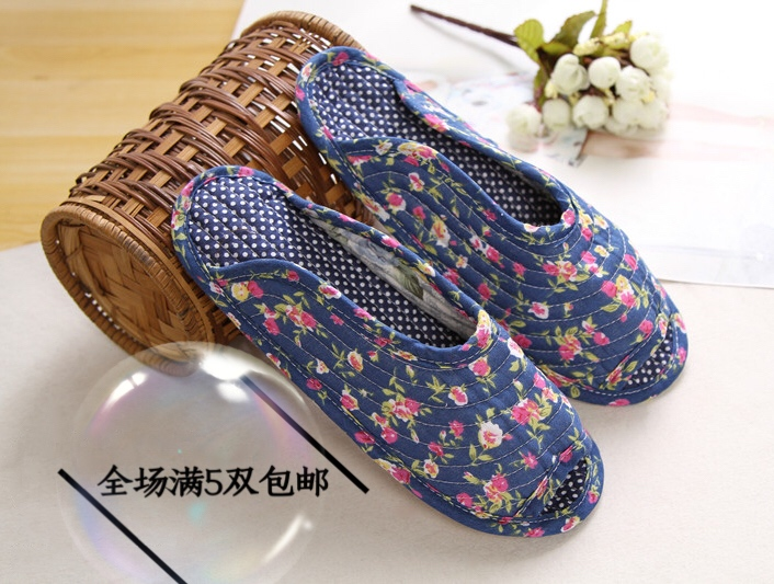 Cotton womens Korean quilted fabric soft bottom slippers floor slippers home slippers indoor slippers Korean slippers