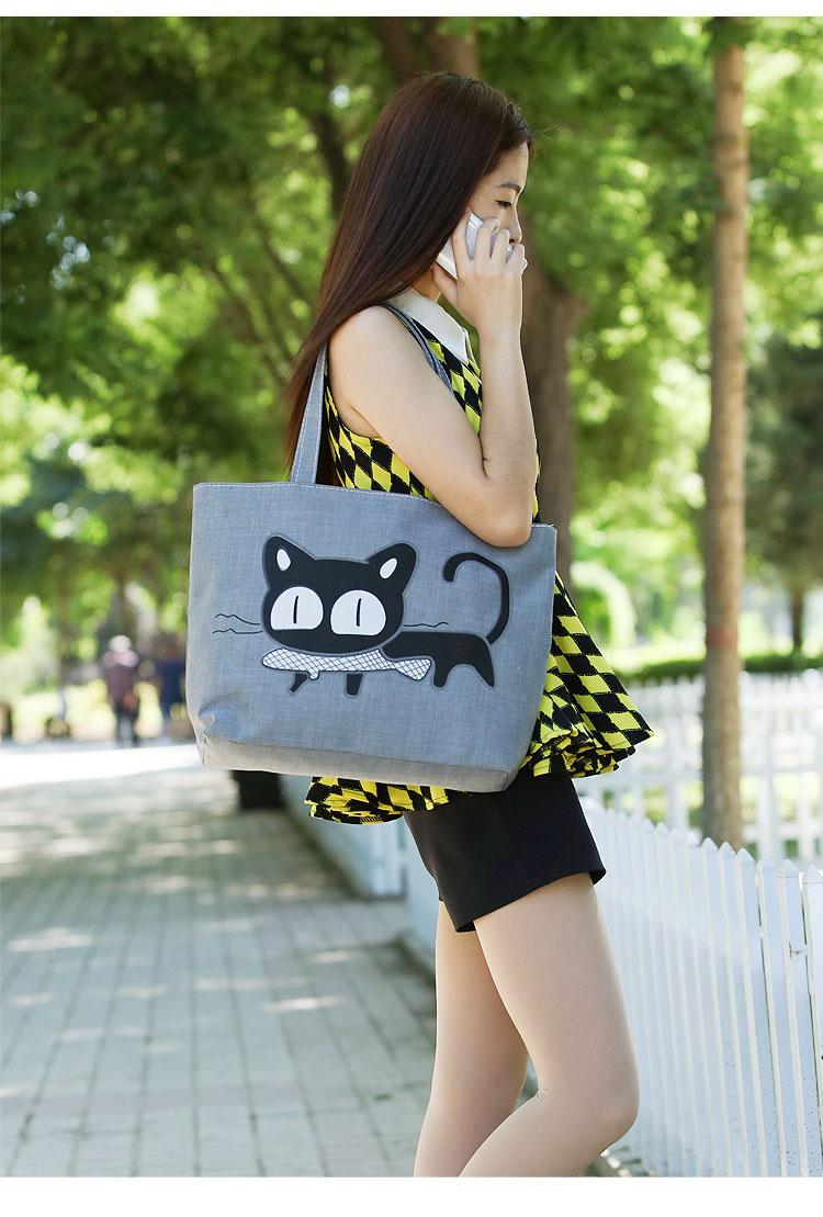 女单肩帆布包手提大学补习补课袋子卡通学生包包书包书袋包袋