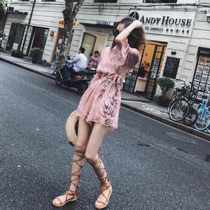 洋气雪纺碎花连体裤女夏2020新款高腰显瘦宽松垂感阔腿裤短裤套装