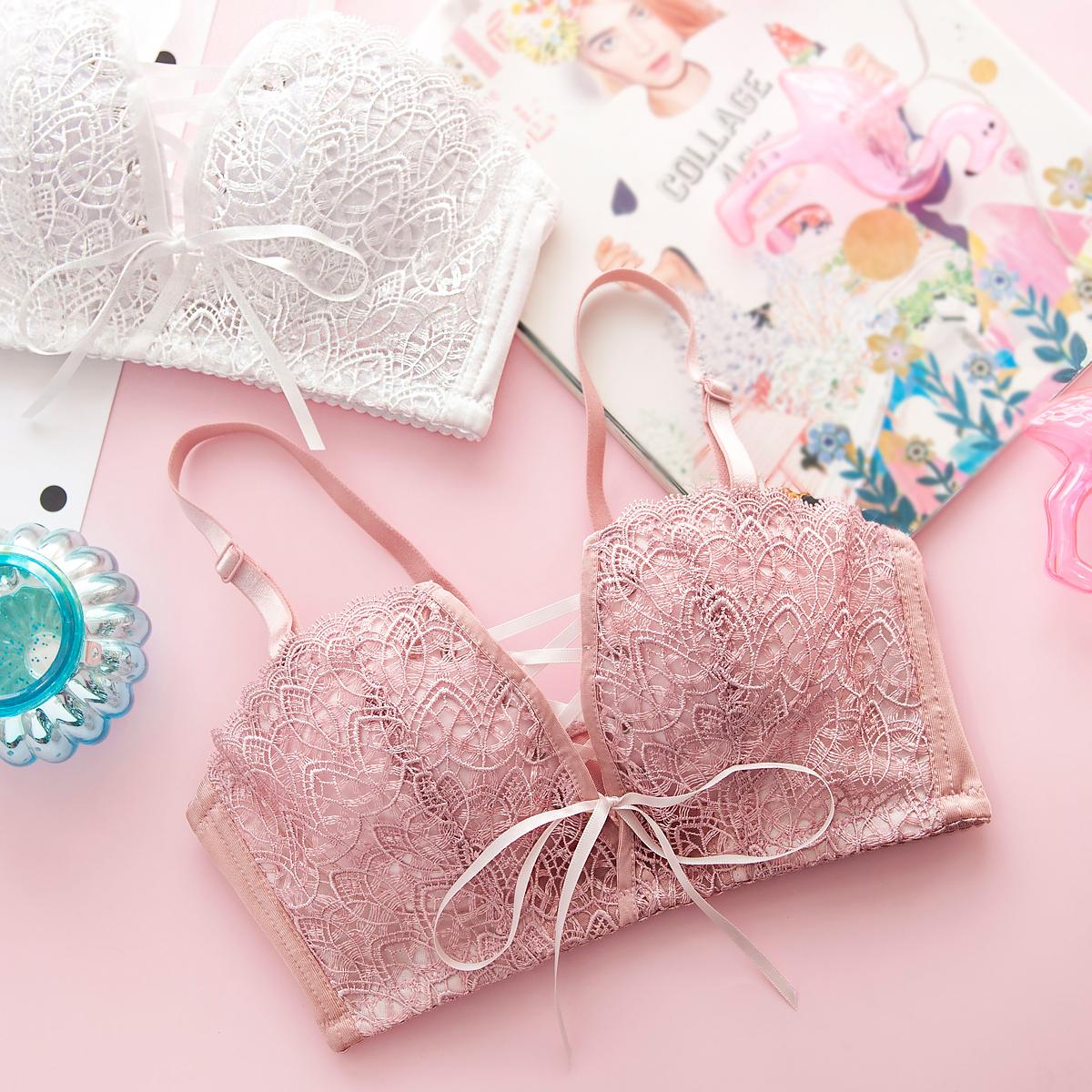 莎琪儿蕾丝聚拢小胸罩日系少女内衣内裤套装粉色性感上托文胸薄款