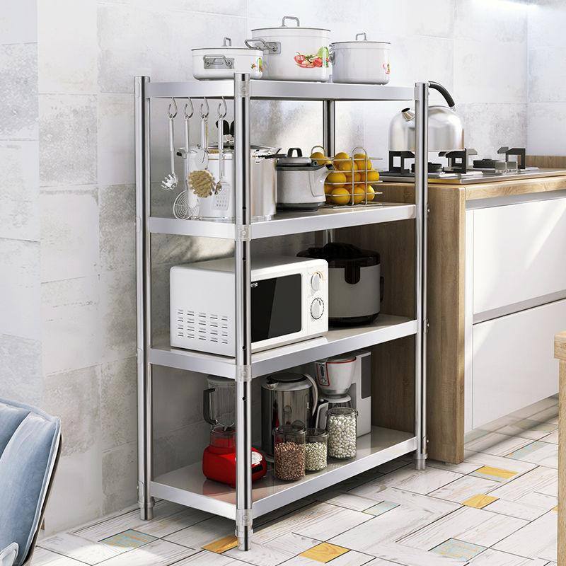 加厚不锈钢厨房置物架多层微波炉架落地多层厨房用品收纳储物架子