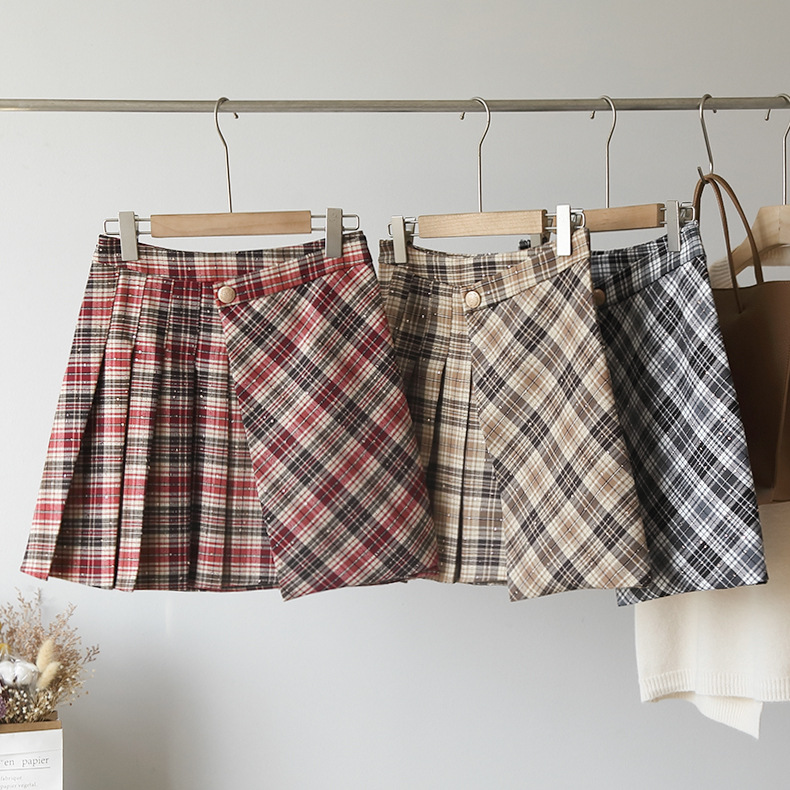 [omalay] 2021 college style spring womens high waist Plaid Sequin pleated A-line skirt