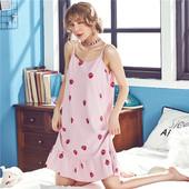 吊带睡裙女夏季纯棉性感大码草莓薄款可爱连衣裙子夏天睡衣可外穿