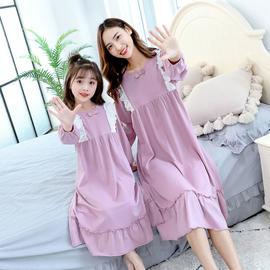 小女孩春夏亲子睡衣儿童春秋季中大童母女家居服纯棉女童长袖睡裙
