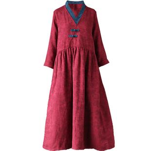 2020秋裝民族風棉麻提花袍子復古撞色盤扣改良漢服寬鬆大碼連衣裙