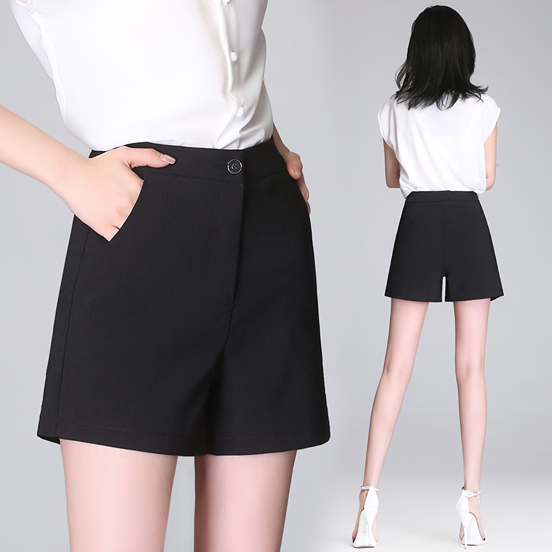 White Suit Shorts Female Summer Outer Wear 2019 New Style Leisure Loose High-Rise Wide-Leg a Word Chiffon Hot Pants Black