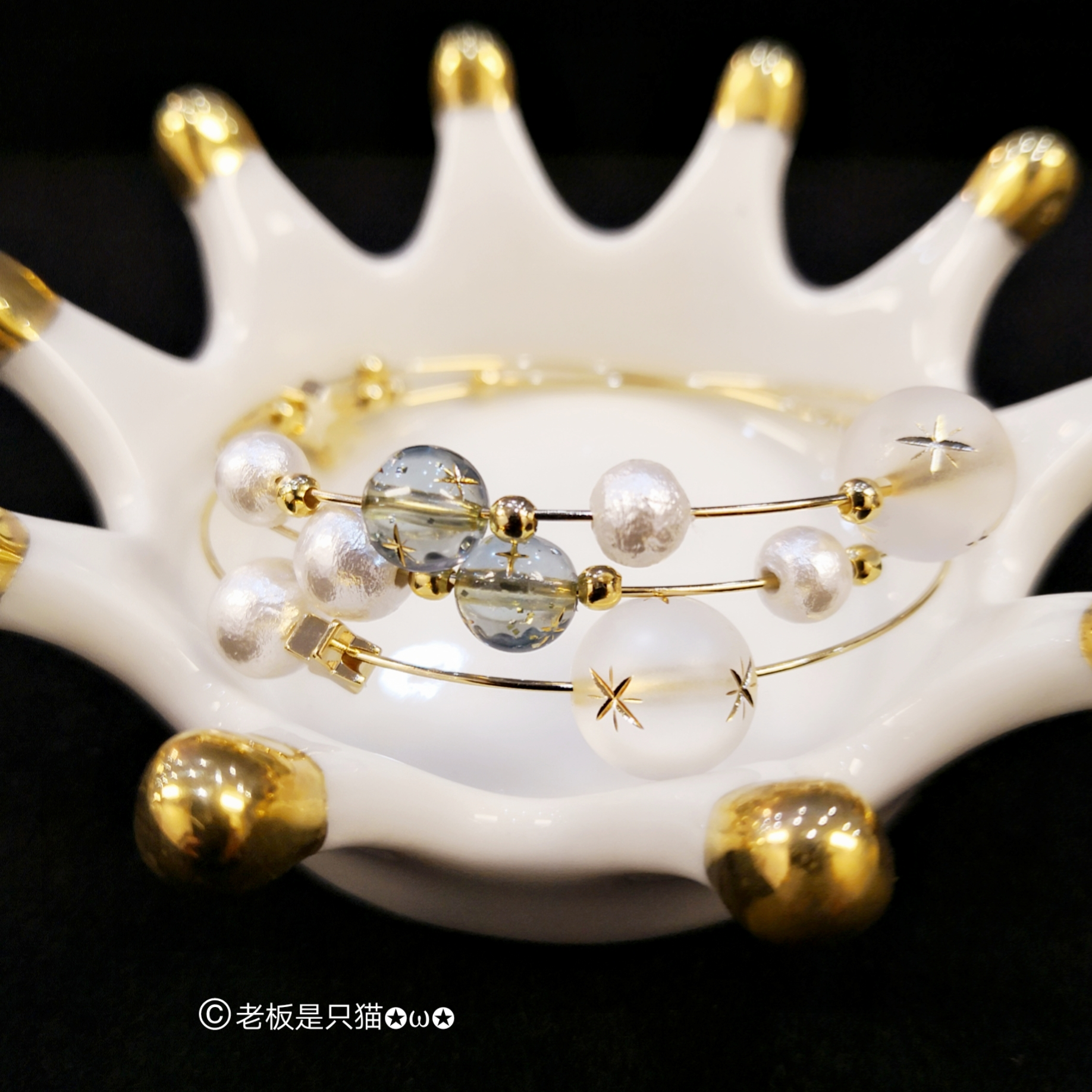 18K Gold covered Japanese limited star pearl cotton pearl multi-layer Bracelet