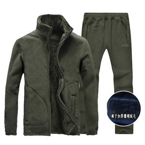 潮流新款秋冬季衣裤套装男款加绒加厚潮流时尚保暖抓绒衣外套长裤
