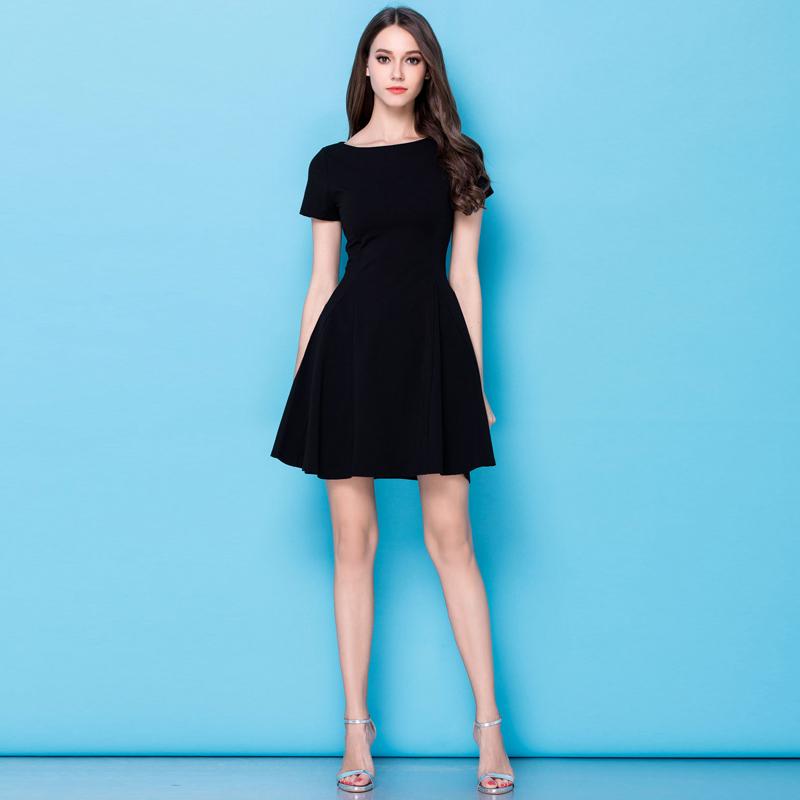 短款一字领黑裙子小个子连衣裙2021春夏秋法式赫本红色礼服七分袖