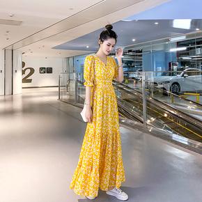 小秋菊2021夏季女装新款碎花显瘦连衣裙短袖雪纺仙女气质超长裙