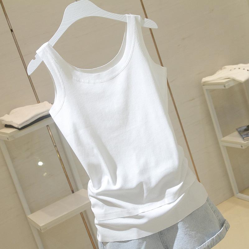 白色吊带背心外穿女夏季新款韩版圆领修身显瘦无袖内搭上衣2019