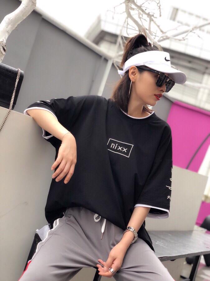 抖音2018夏新款半袖宽松大T 锦棉胖T恤女中长款 高端刺绣字母上衣