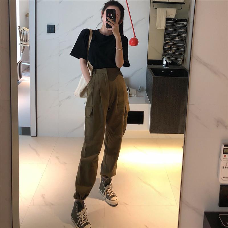 51.00元包邮法式工装裤女套装中性风帅气日系酷