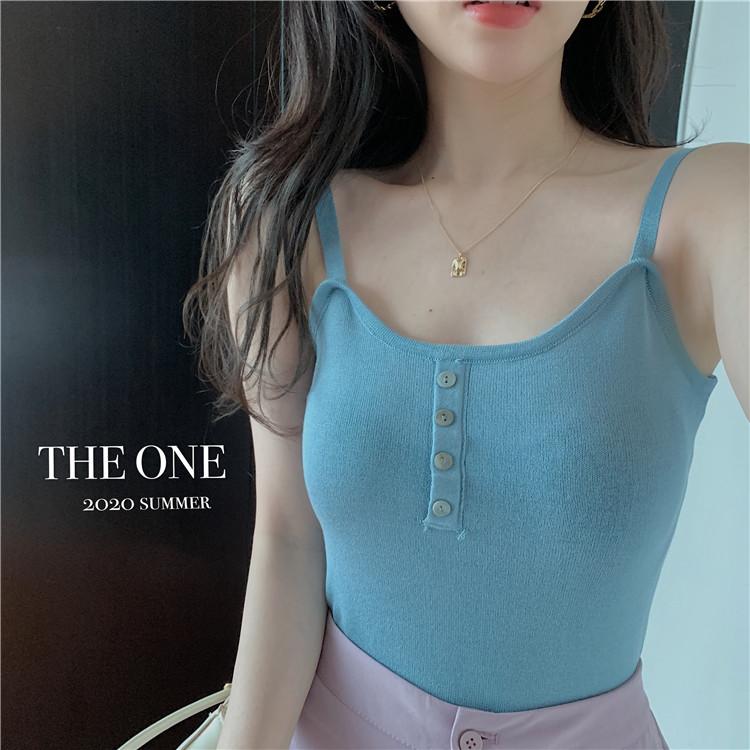 实拍 夏季新款贝壳纽扣显瘦百搭纯色针织冰丝吊带打底衫