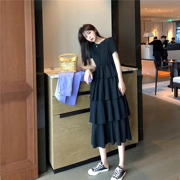 实拍 质检不低于51春夏新款韩版短袖显瘦收腰多层蛋糕中长裙
