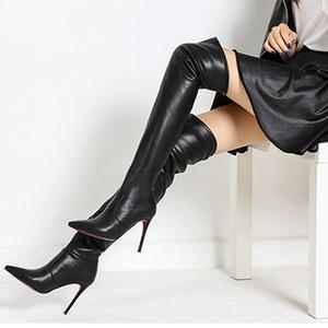 过膝长靴女<span class=H>靴子</span>细跟尖头超高跟长筒靴秋冬新款过膝靴瘦腿弹力靴