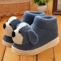 冬季保暖棉拖鞋包跟卡通居家鞋情侣可爱室内女毛毛绒厚底月子棉鞋