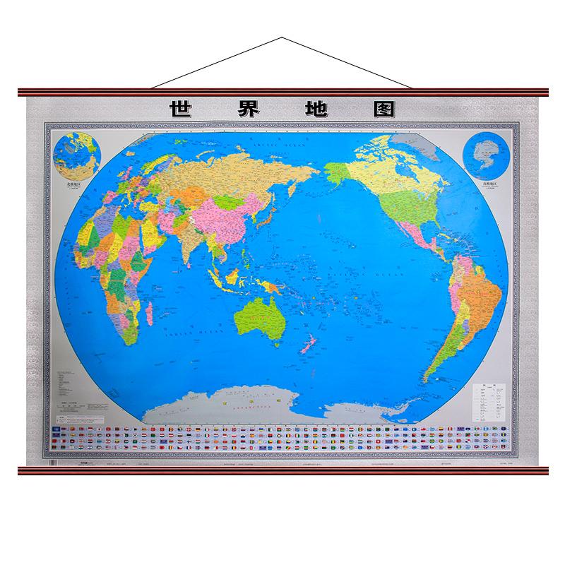 世界地图挂图 高端精装景观版 2018年全新正版超大版1.6×1.2?#35013;?#20844;会议室家用墙挂大型地图整张无拼接仿红木挂杆挂图