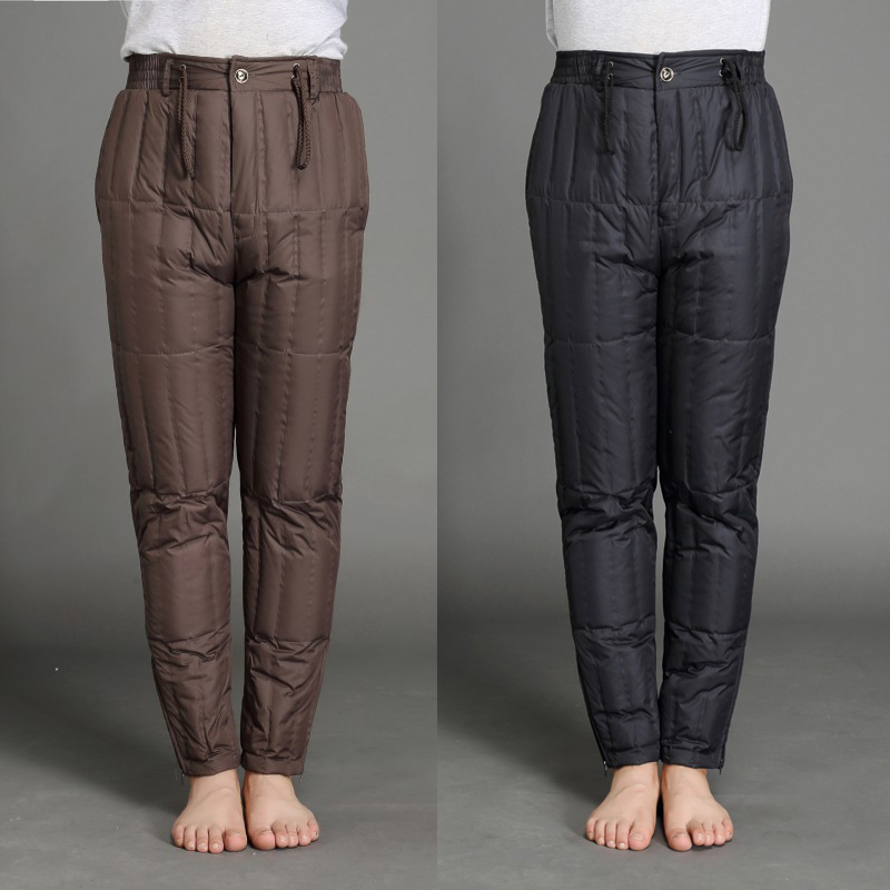 Middle aged and old peoples high waist thickened duck down trousers men wear warm pants inside and outside