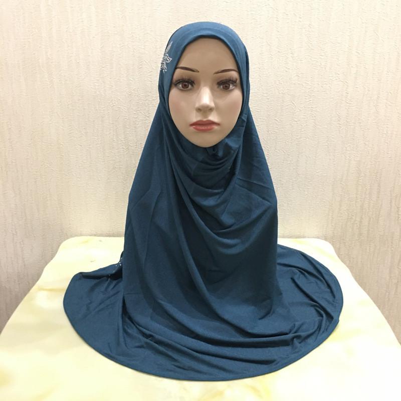 新款大号新淘纱烫钻头巾盖头跨境热卖纱巾马来西亚女式礼拜巾帽子