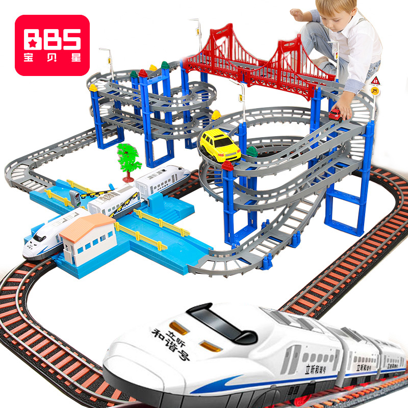 Baby Star electric car high speed rail small train track toy children racing boy 3 multifunction car 5 years old