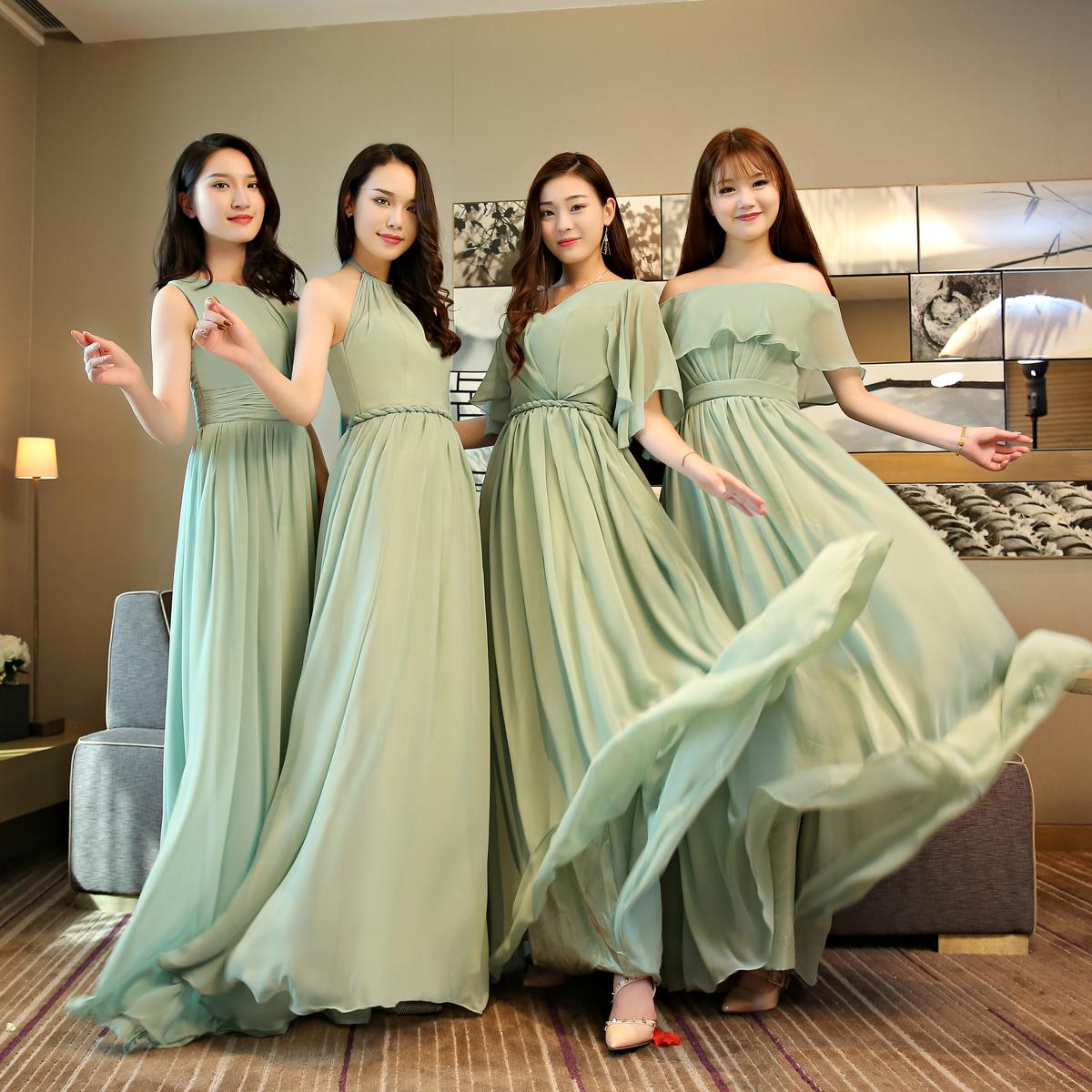 伴娘服姐妹团2019春夏新款森系长款显瘦一字肩年会主持人晚礼服女限时抢购