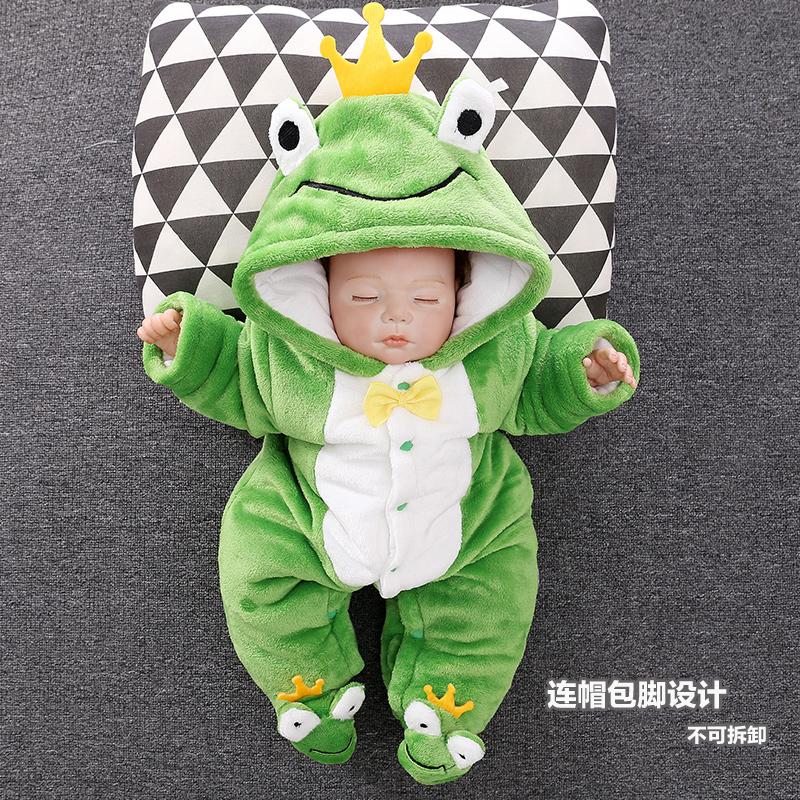假一赔十婴儿衣服秋冬装保暖宝宝0-3-6个月加绒厚新生儿外出连体抱衣